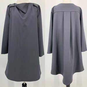 Kaos Gray Oversized Dress Grommet Details